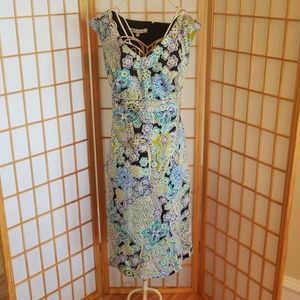 Evan Picone Green Blue Paisley Dress